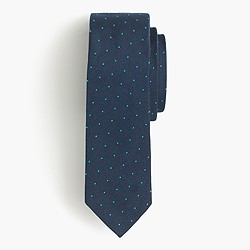 Italian silk repp tie in navy dot