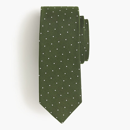 Italian silk repp tie in navy dot
