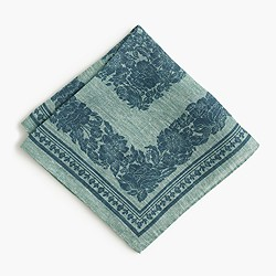 Italian linen pocket square in floral