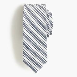 Irish linen-cotton tie in navy stripe