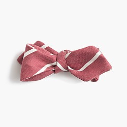 English linen-silk bow tie in thin stripe