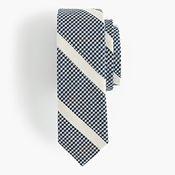 Cotton tie in navy micro-check stripe