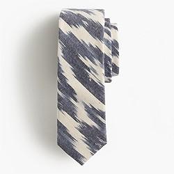 Cotton tie in navy ikat