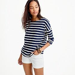 Striped T-shirt with pom-poms
