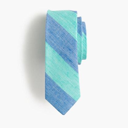 Boys' linen-cotton tie in faded stripe