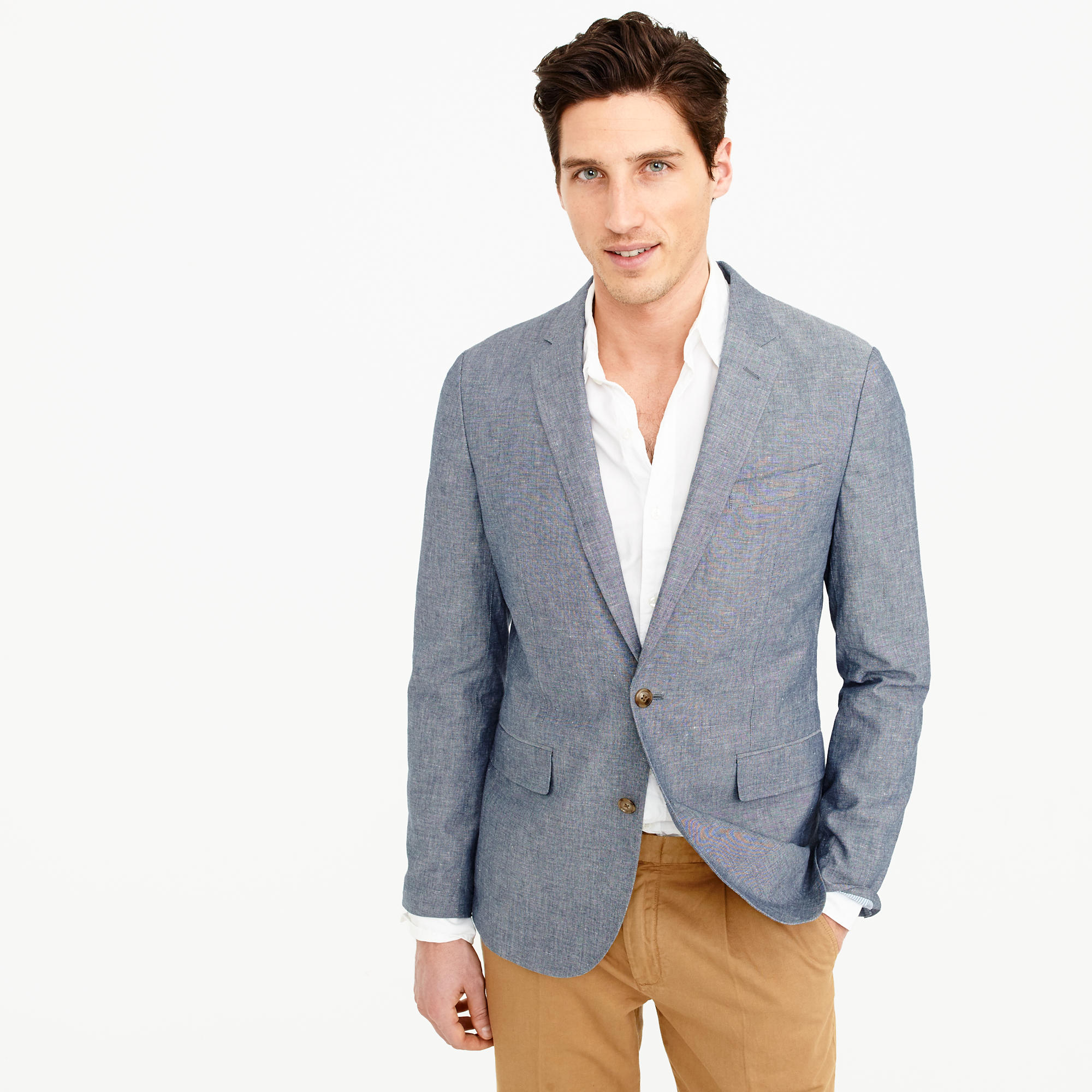 Unstructured Ludlow cotton-linen blazer in deep water : Men ...