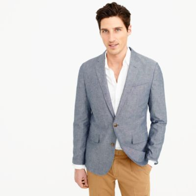 Unstructured Ludlow cotton-linen blazer in deep water