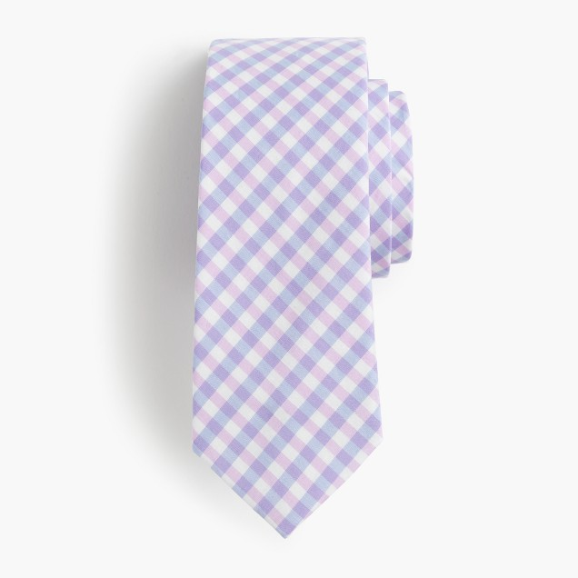 Boys' cotton tie in spring gingham