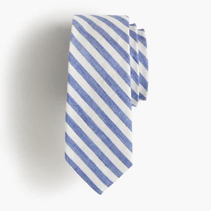 Boys' linen-cotton tie in retro stripe
