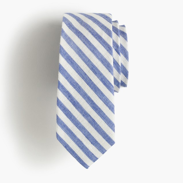 Boys' linen-cotton tie in retro stripe