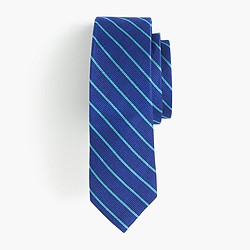 Boys' silk tie in aqua stripe