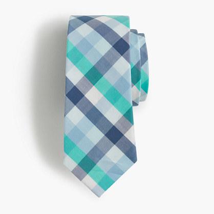 Boys' cotton tie in emerald gingham