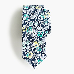 Boys' cotton tie in navy floral