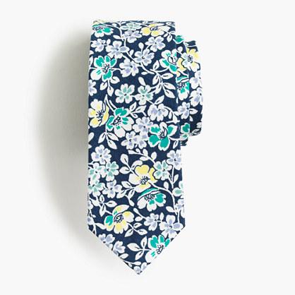 Boys' cotton tie in navy floral