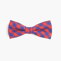 Boys' cotton bow tie in blue-red gingham