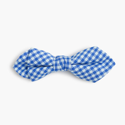 Boys' cotton bow tie in cobalt gingham