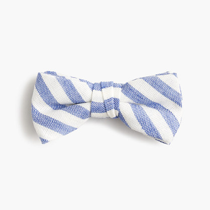 Boys' linen-cotton bow tie in faded stripe