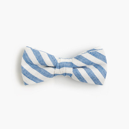 Boys' linen-cotton bow tie in faded stripe
