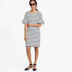 Ruffled bell-sleeve shift dress in stripe