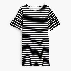 Ruffled bell-sleeve shift dress in stripe