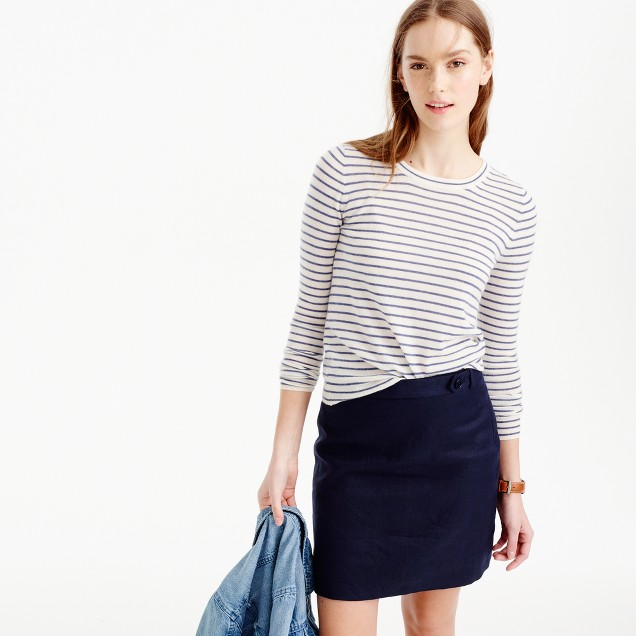 Italian featherweight cashmere long-sleeve T-shirt in stripe