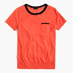 Italian featherweight cashmere tipped pocket T-shirt