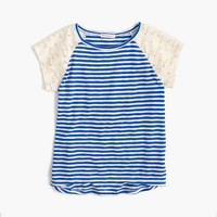 Girls' striped T-shirt with eyelet sleeves