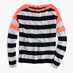 Italian featherweight cashmere striped boatneck sweater