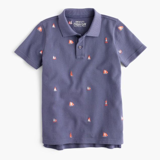 Boys' critter piqué polo shirt in sailboats