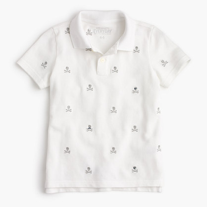 Boys' critter piqué polo shirt in skulls and crossbones