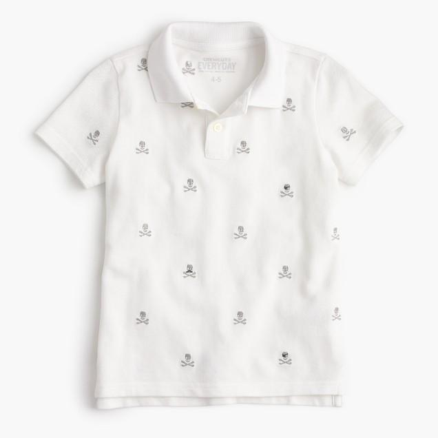 Boys' critter piqué polo shirt in skulls and crossbones