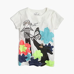 Girls' Olive and Izzy with flowers T-shirt