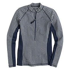 Front-zip rash guard in gingham seersucker