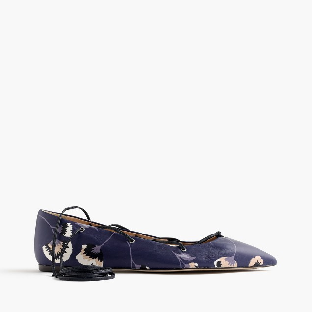 Leather lace-up ballet flats in midnight poppy