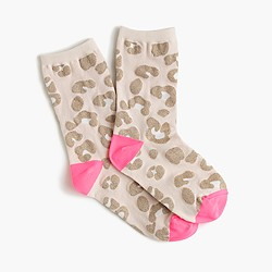 Girls' leopard print socks