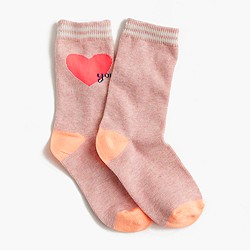Girls' heart you trouser socks
