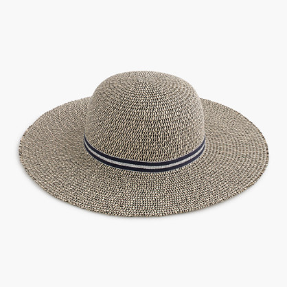 Girls' floppy sun hat with metallic ribbon