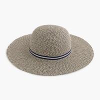 Girls' floppy sun hat with metallic ribbon