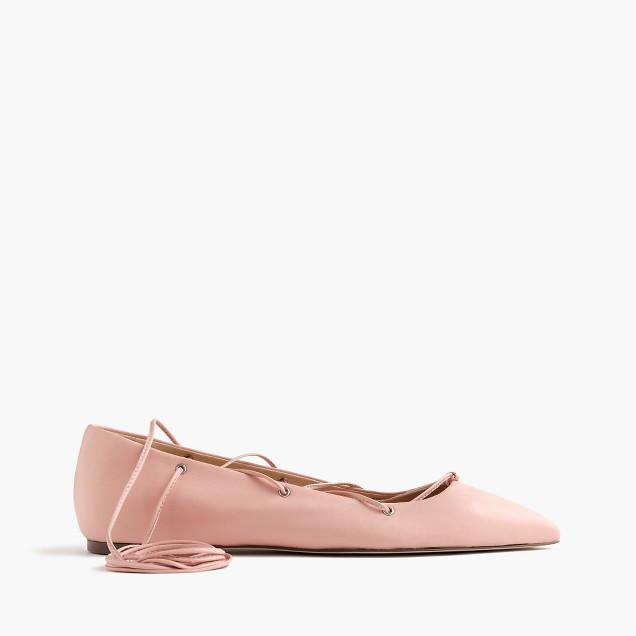 Leather lace-up ballet flats