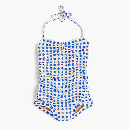 Girls' Wovenplay® for crewcuts tropical dot one-piece swimsuit