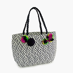 Girls' straw tote bag with pom-pom