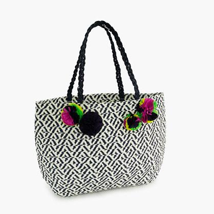 Girls' straw tote bag with pom-pom