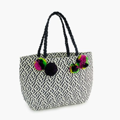 Girls' straw tote bag with pom-pom :