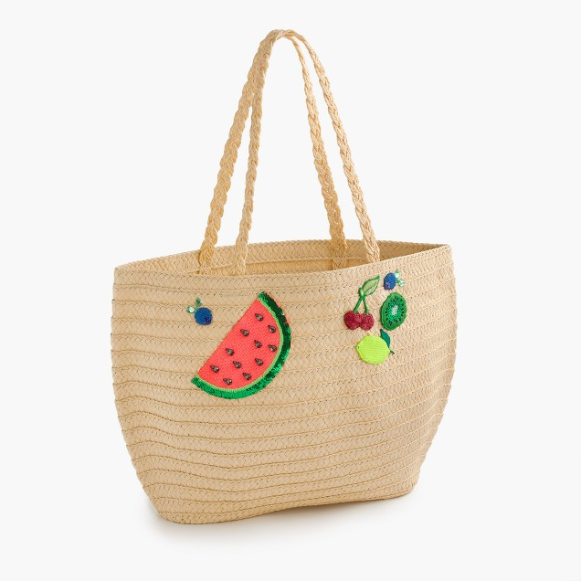 Girls' straw tote bag