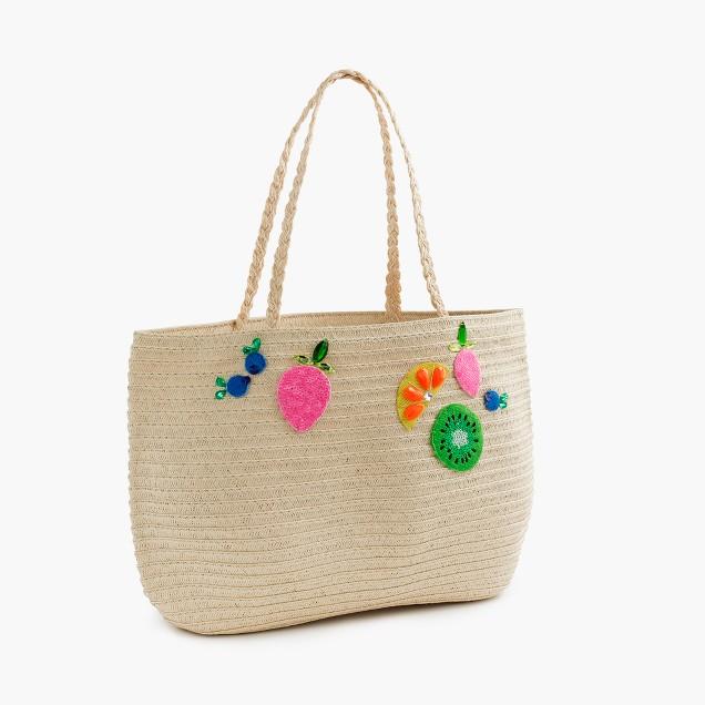 Girls' straw tote bag