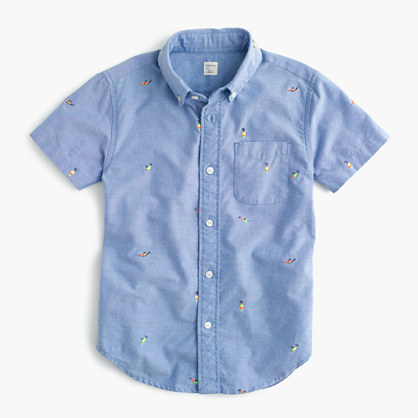 Kids' short-sleeve critter vintage oxford shirt in fishing lures