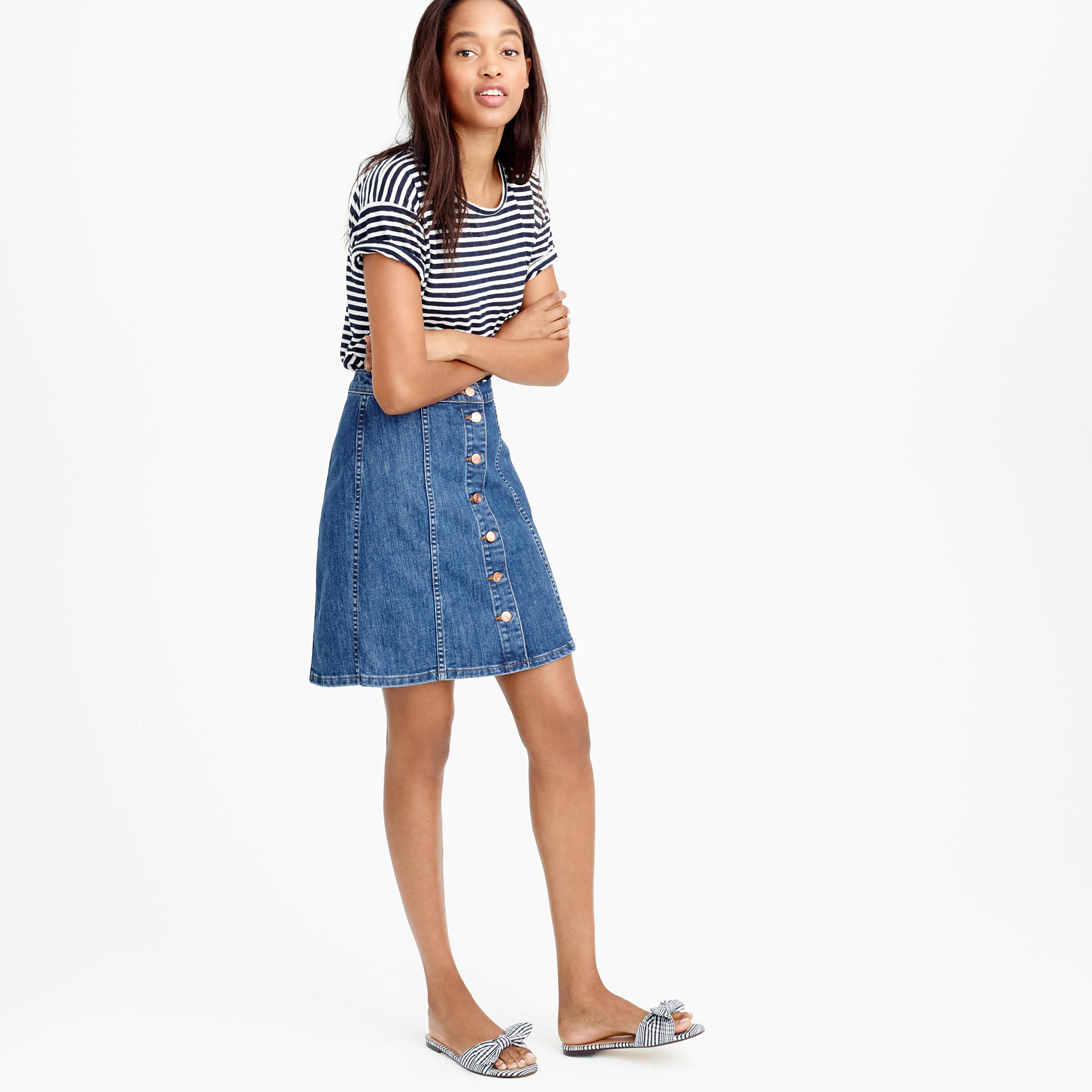 Button-front denim mini skirt : Women denim | J.Crew