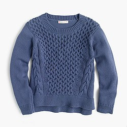 Girls' cotton cable popover sweater