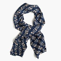 Lightweight silk twill scarf in flytrap floral print