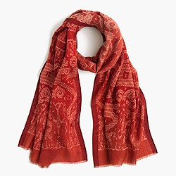 Lightweight wool-silk scarf in ikat